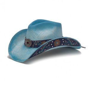 Accessories - Stampede Hats- Blue Straw Western Hat